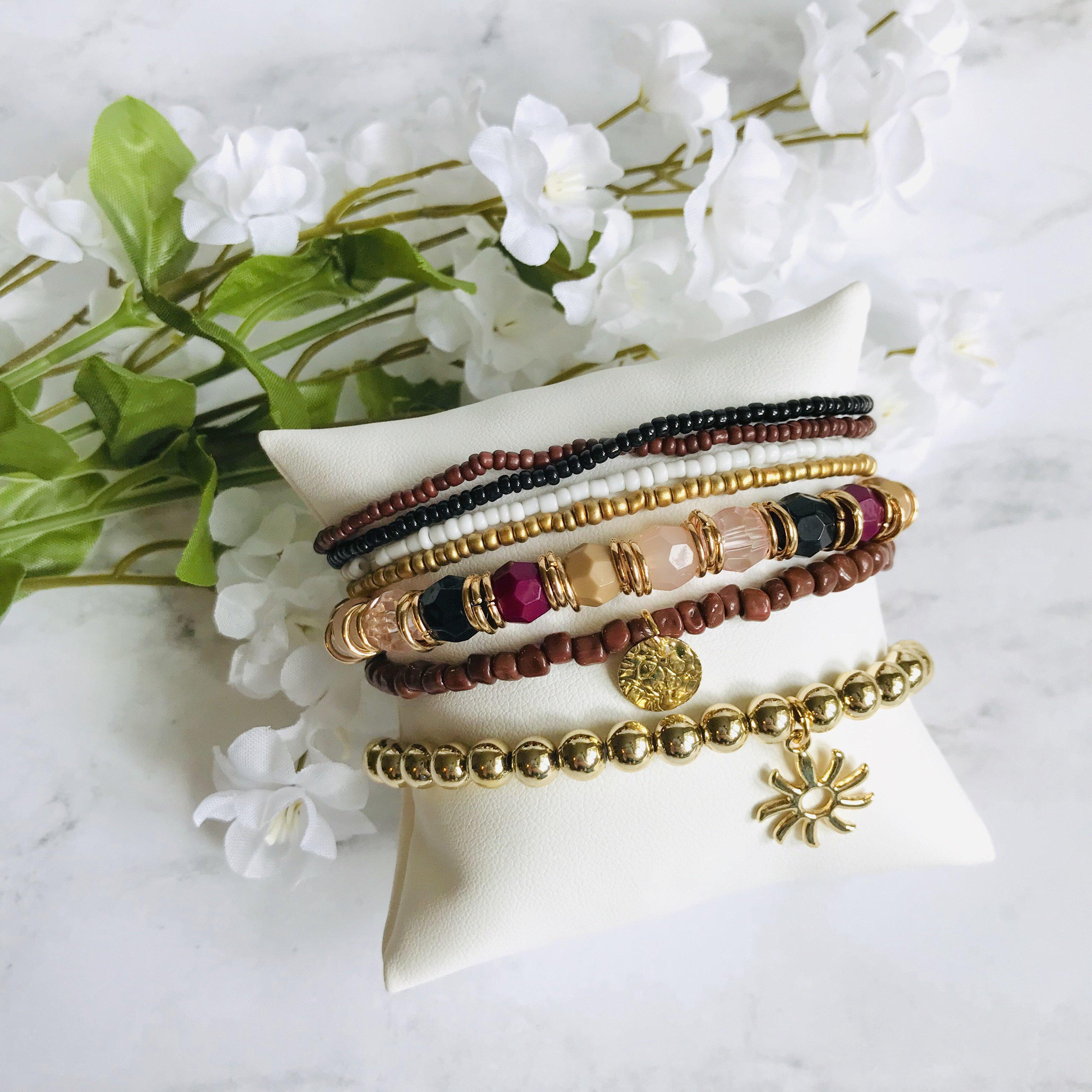 Image of Gold and Fall Colors Sun Bracelet Set