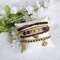 Gold and Fall Colors Sun Bracelet Set