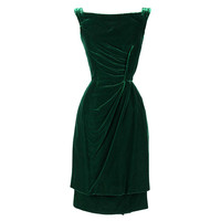 Vintage 1950's Ceil Chapman Emerald Green Silk Velvet Dress | 1stdibs.com
