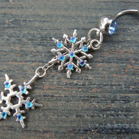 FROZEN snowflake belly ring snowflakes aqua rhinestones in ice winter Christmas fantasy boho gypsy hippie belly dancer and hipster style
