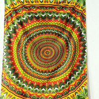 TWIN MULTICOLOR PSYCHEDELIC Wall Mandala Fabric Throw Hippie Wall Hanging Mandala Tapestry Bedspread Blanket Ethnic Bohemian Home Decor Art