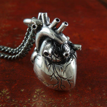 """Anatomical Heart Necklace Antique Silver Anatomical Heart on 32"""" Gunmetal Chain"""
