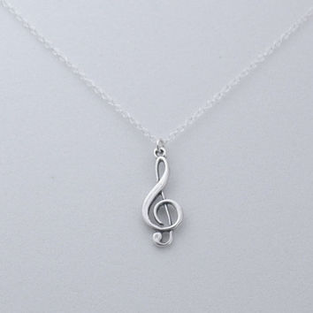 Treble Clef Necklace, Musical Necklace, Silver Clef Charm, Sterling Silver Chain Necklace