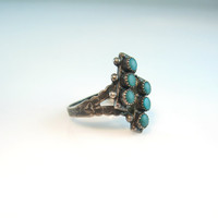 Native American Turquoise Ring. Sterling Silver. Vintage Zuni Petit Point Double Row. Hand Stamped Sunray Arrow, Size 7.75. 1950s Jewelry