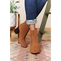 Walking In Circles Faux Suede Booties (Camel)