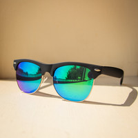 Mirrored Sunglasses in Black and Green