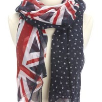 Lightweight Union Jack Print Scarf by Charlotte Russe - Navy Combo