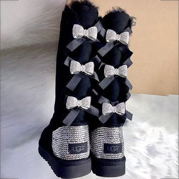 UGG hot sale fashion high tube diamond-studded metal bow snow boots velvet casual ladies wool boots
