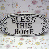 Bless This Home Oval Cast Iron Welcome Greeting Sign Classic White Wall Entryway Door Decor Plaque Shabby Chic Style New House Warming Gift