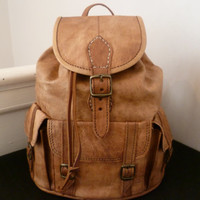 Tan leather backpack Small