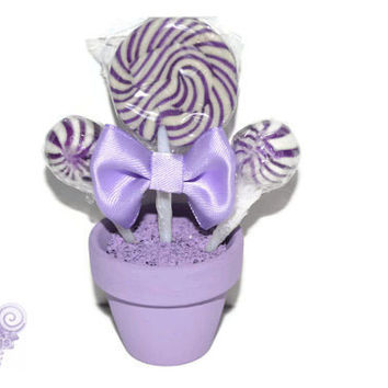 Violet Mini Lollipop Arrangement, Violet, Light Purple, Edible, Candy, Lollipop, Favor, Violet Wedding, Birthday, Wedding, Baby Shower
