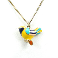Vintage Colorful Bird Necklace Cute Jewelry Gift Yellow Blue Gold 56