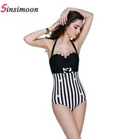 Halter knot Striped Sexy Women One Piece bathing suit Swimsuit New High Waist retro Bandage Swimwear