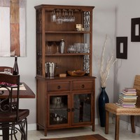 Dark Oak Wood Finish Bakers Rack Server With Wine Storage Hutch