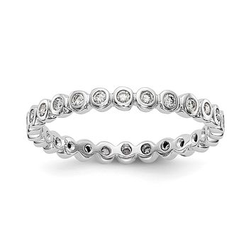 Natural 1/3 Ct. Bezel Set Diamond Eternity Band in 14k White Gold