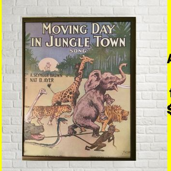 BOGO FREE Posters Cute Sweet Adorable Jungle Safari Retro Antique Vintage Wall Room art decor poster print for Nursery Baby kid shower decor