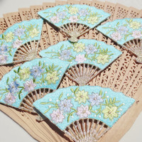 Fan Aqua Appliques Flowers Embroidered Supplies Trim (6)