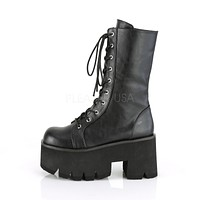 "Ashes 105 Platform Lace Up Mid-Calf Boots 3.5"" Chunky High Heel 6-12"