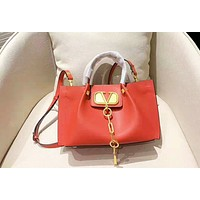 Valentino color matching fashion casual wild shoulder slung handbag shopping bag Red
