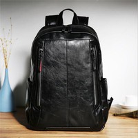 Cool Backpack school Famous Brand Men Laptop Backpack Casual Cool Men's PU Leather Rucksack Fashion Mochila Masculina School Bag For Teenager P362 AT_52_3
