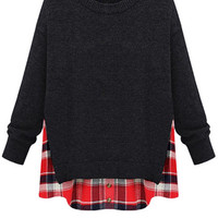 Plaid Splicing Faux Twinset Sweater