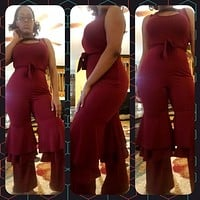 Red Ruffled Bottom Jumpsuit