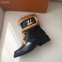 LV Louis Vuitton Women Fashion Leather Zipper black High Top Mid Boots with strings Shoes Winter Autumn best quality