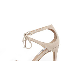 Steve Madden Semona Blush Suede Lace-Up Heels