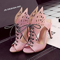 New Fashion Hollow Lace-up Sexy Ladies Sandals High Heels Stockings Shoes Dress Bikini bag