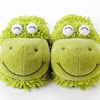 Kids and Adult Fuzzy Friends Slippers Frog