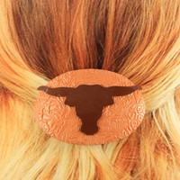Longhorn Barrette, Burndt Orange, Texas Accessory, Longhorn Etsy, Longhorn Texas, Texas, Hair Accessories, Women's Barettes,  Handmade