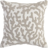Coral Embroidered Bisque Pillow