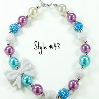Purple & Aqua Beads with White Bow Bubblegum Chunky Necklace