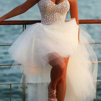 White pearl Homecoming Dress, Sweetheart Floor-Length Chiffon Homecoming Dresses