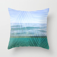 Palms over water  Throw Pillow by Sunkissed Laughter