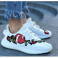 Adidas Yeezy 350 V2 Fashion Rose Embroidery Running Sport Shoes Sneakers Shoes H-CSXYQ