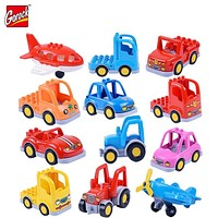 Classic City Traffic Series Building Blocks DIY Assemble BUS Car Toys Compatible with Duplo Sets Baby Enlighten Gift Bricks
