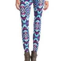 Cotton Ikat Tribal Printed Leggings by Charlotte Russe - Blue Combo