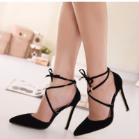 Trendy Black Lace Ankle Strap Stylish Heels