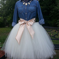 Custom Made Adult  Ivory Tulle Tutu Style Skirt for brides maid dress, prom, party, portraits-Can do any color satin sash for the waist