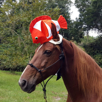 Fish Hat for Horse or Pony -- Soft Equine Clown Fish Hat - Fun Horse Costume