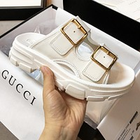GUCCI Women Fashion Personality Metal Color Thick Soles Slippers Sandals Shoes