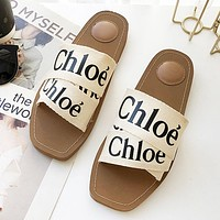 Chloe Fashion New Letter Print Women Flip Flop Slippers Shoes Beige
