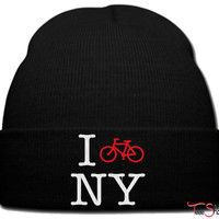 i bike in new york beanie knit hat