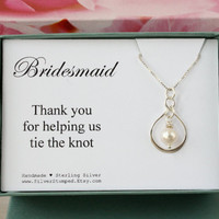 Thank you for helping us tie the knot Bridesmaid Gift for Bridesmaid silver necklace thank you gift for bridesmaid - Bridesmaids jewelry
