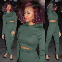 Army Green Hooded Cropped Top and Pants Set