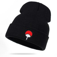 Anime Lovers Naruto Beanie Uchiha Family Logo Cotton Embroidery Winter Hat Knitted Hat Skullies Beanies Hat Hip Hop Knit Cap