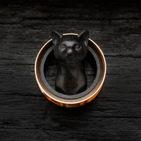 Black Cat Plugs Rose Gold Tunnel 3D Printed Double Flare