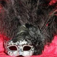 Venetian Masks: Black and Silver Mask with Ostrich and Capon Feathers