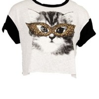 Black and White Crop Top with Cat Wearing Sequenced Sun Glasses. (Small)